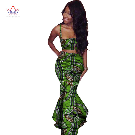 BRW 2017 African Print Two Piece Set Dashiki African Clothes for Women Bazin Square Collar Sleeveless Crop Skirt and Top WY2221
