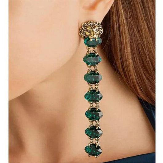 Vintage Crystal Rhinestone Earring European Fashion Long Baroque Earring Jewelry For Women-OWAME78