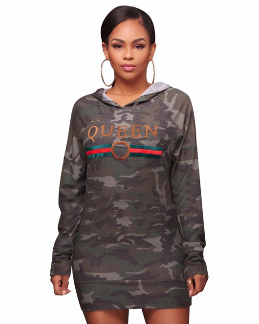 Women Long Sleeve Camouflage Letter Print Hooded Mini Dress, Women Plus Size Pullovers Shirt Bodycon Dresses-0wa99