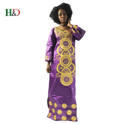 (Free shipping) Traditional African Bazin fashion lady's embroidered cotton dress    S2283