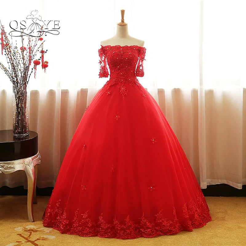 Qsyye 2018 Red Ball Gown Long Prom Dresses Elegant Off The Shoulder