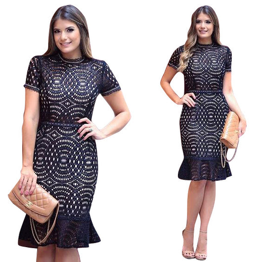 women Short Sleeve Lace Patchwork Fishtail Mermaid Dresses Women Black Summer Hollow Out Ruffles Knee Length Party Dress-0wa99