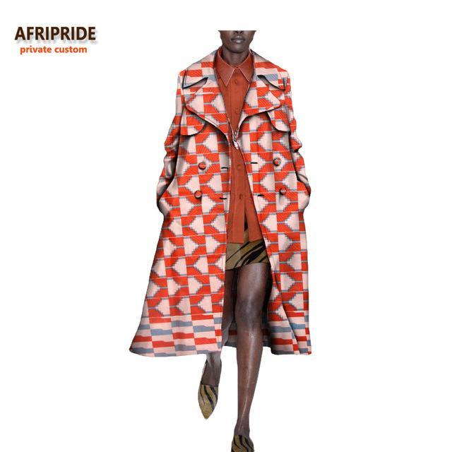 2017 autumn african long women's coat AFRIPRIDE full sleeve mid-calf length double button turn down collar casual coat A722417