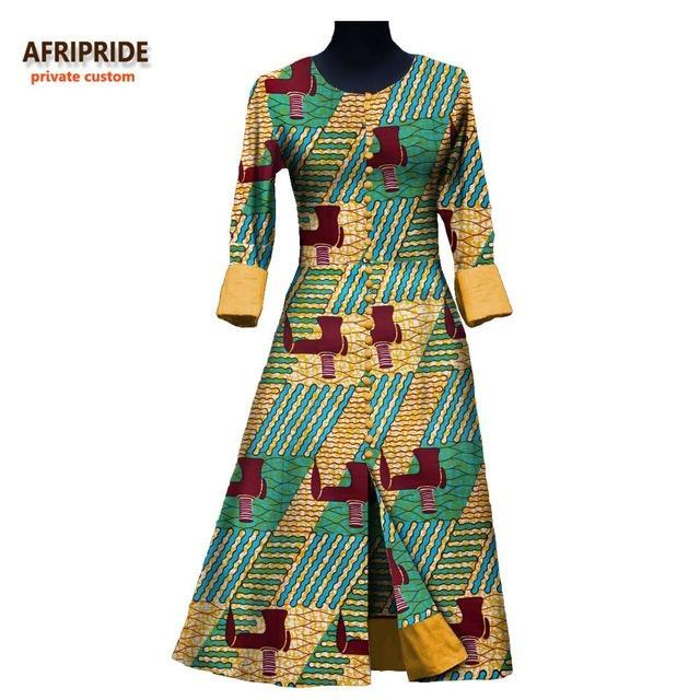 17 New autumn long dress for women AFRIPRIDE private custom african style full sleeve ankle-length vintage cotton dress A7225110