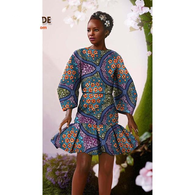African clothes Summer long-sleeve above-knee skirt suit casual and party dress