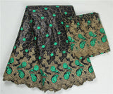 black lace bazin riche getzner woman blouse french net lace nigerian scarf with beads african fabric for dress 7 yard/lot-D1141