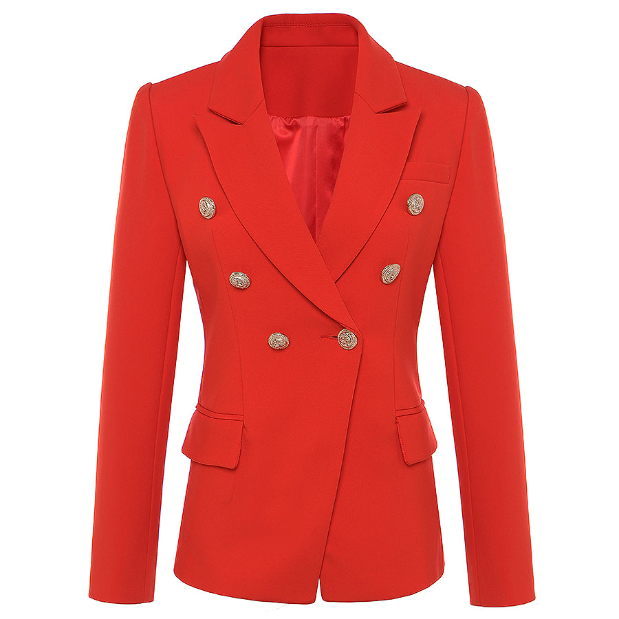 dfd004d5 New Fashion 2018 Fall Winter Baroque Designer Blazer Women's Metal Lion  Buttons Double Breasted Blazer Jacket Outer Coat Red