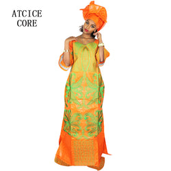 african dresses for women fashion design new african bazin embroidery design dress long dress with scarf two pcs one set LA078#