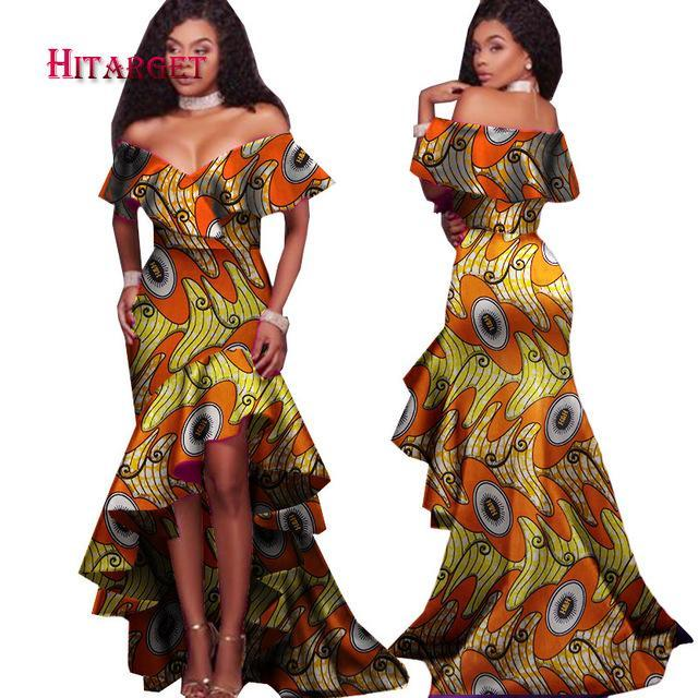 2017 New Autumn African Tribal National Printing Slash Neck Sexy Long Dresses for Women Africa Bazin Riche Maix Dresses WY2248