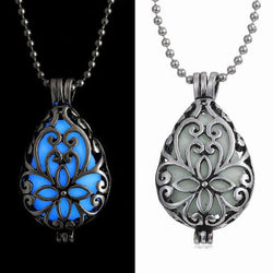 Glow In Dark Locket Hollow Glowing Stone Luminous Choker Pendant Necklace-owa114