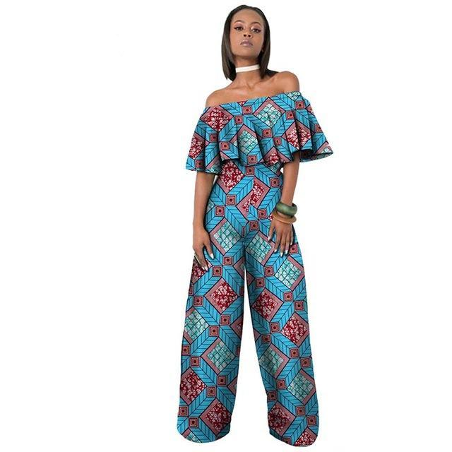 private custom african jumpsuit  for women short sleeve ankle-length jumpsuit for work