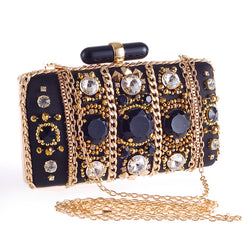 Vintage Chain Beaded Accessory Women Evening Bags Metal Clutches Handbags Messenger Evening Bags For Party