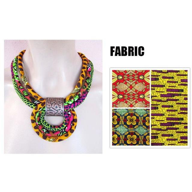 2017 African Fabric Bib Batik Necklace Print Fabric Knot Necklace AnkaraTribal Necklace for Women WYB111