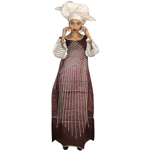 african dresses for women,african bazin embroidery design long dress with scarf two pcs one set -0w-908
