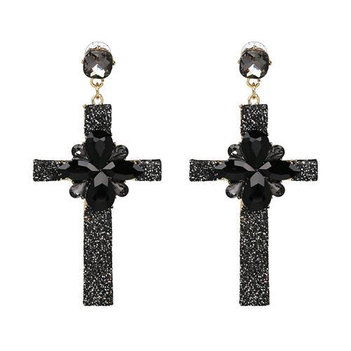2017 Hot Earring Jewelry good quality Crystal Multicolor Special Bohemia Big long CROSS EARRINGS Wholesale Price F50400