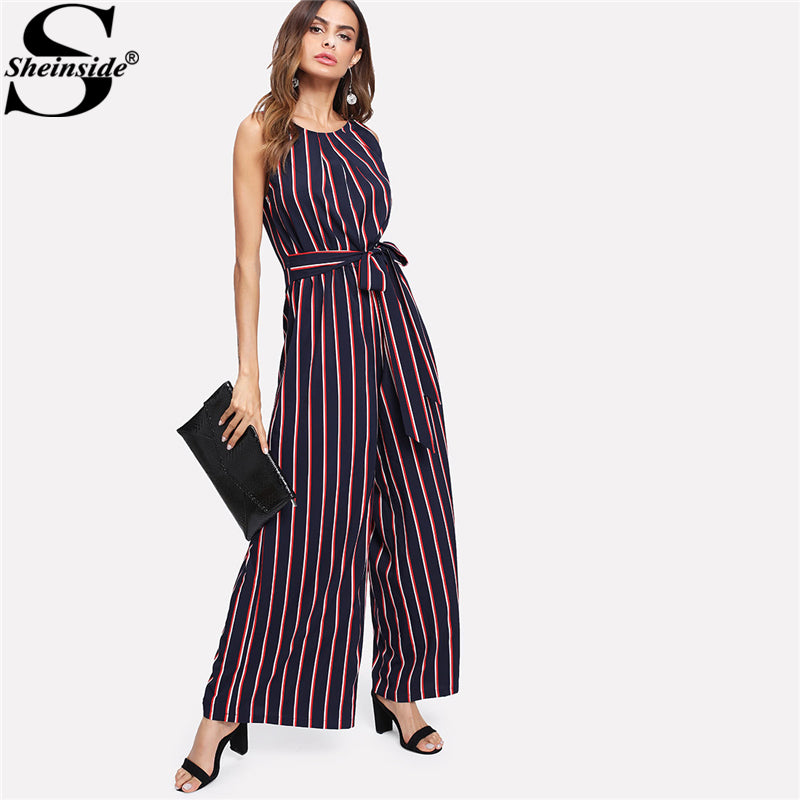 e0eb109c5c8 Sheinside 2018 Round Neck Sleeveless Mid Waist Jumpsuit Women Elegant Self  Belted Bow Vertical Striped Wide ...