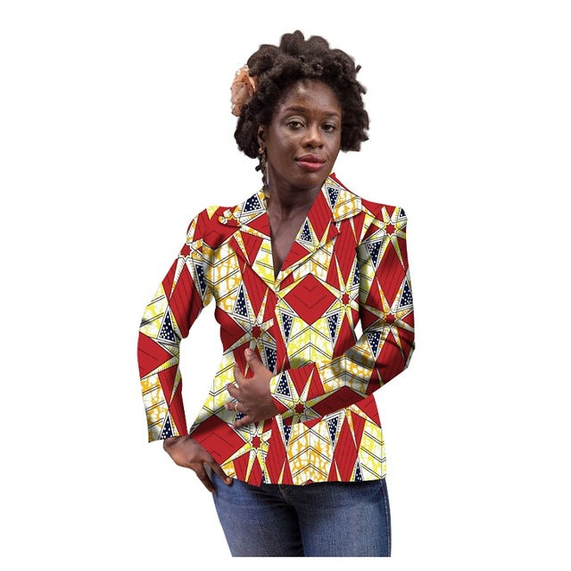 2f28e30e84ee 88511b412666 African Print Women Suit Jacket Africa Festive Ladies Long  Sleeve .