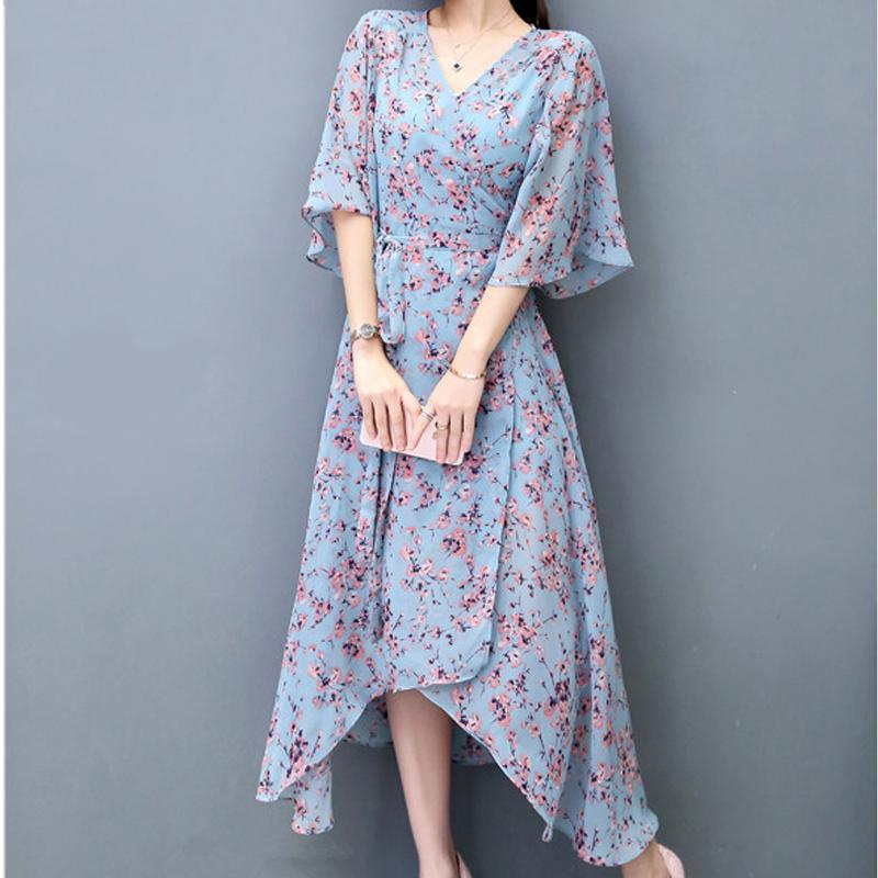 2017 Fashion Women Chiffon Dresses V-Neck F Sleeves Asymmetry Elegant Floral Print Dress Two Pieces Women Dress