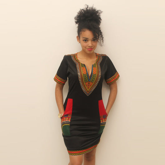 Traditional African Dashiki Cocktail Ethnic Women's Party Midi Dresses O- Neck Patchwork Female Mini Club Pencil Dress