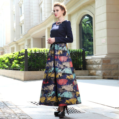 aaae1e24e3a88 ... Image of Vintage Floral print wool dress 2018 elegant women autumn  winter dress new spring big