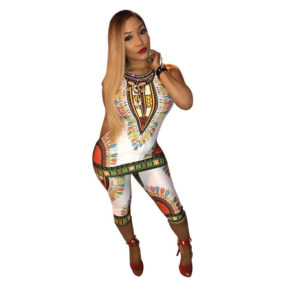 2017 African Print Clothes Long Tops Two Piece Set Top And Pants Women Dashiki Pants Summer Sleeveless Rompers 2 PC Sexy Rompers