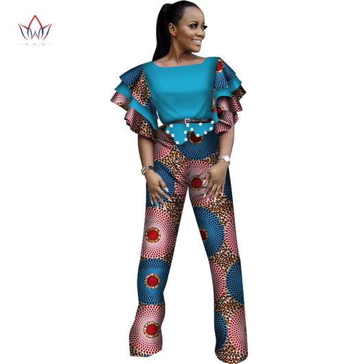African Jumpsuit for Women Sexy Ruffles Sleeve Jumpsuit Dashiki Clothing