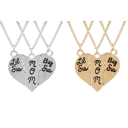 women's necklaces and pendants,3PC/Set Big Little Lil Sis Sisters Mom Mommy Broken Heart Pendant Necklace Love Family Women Charm Jewelry Mother Daughter Gifts