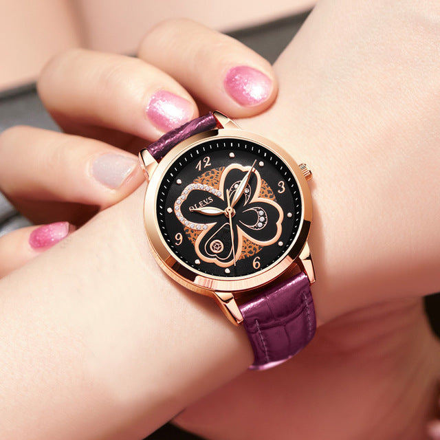 00a21f616 Top Brand Woman Watch Rose Gold Dress lady Leather Quartz Watch girl ...