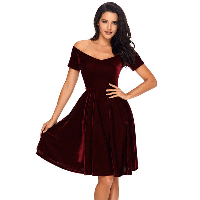 24041a6c2ea 2018 Sexy Velvet Dresses Womens Party Vestidos de Festa Off Shoulder ...