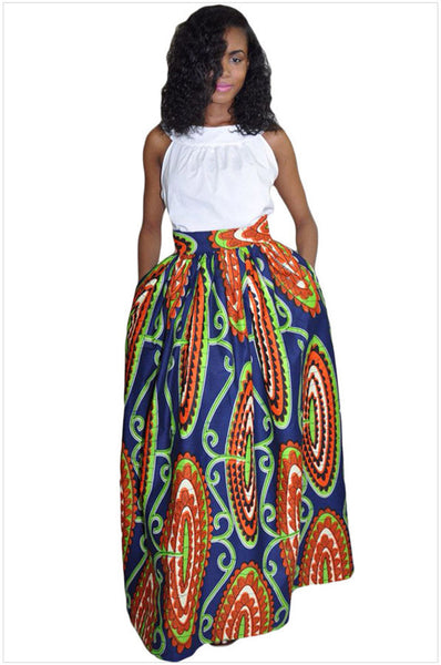 African Women Skirt polyester Dashiki Skirt, African Print Maxi Retro High Waist Tribal Print Skirts-003