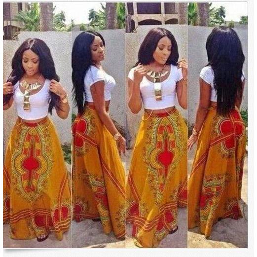 2017 Dashiki Skirt African Print Clothing Boho Autumn Winter Maxi Skirts Vintage Retro High Waist Tribal Print Jupe Longue Femme