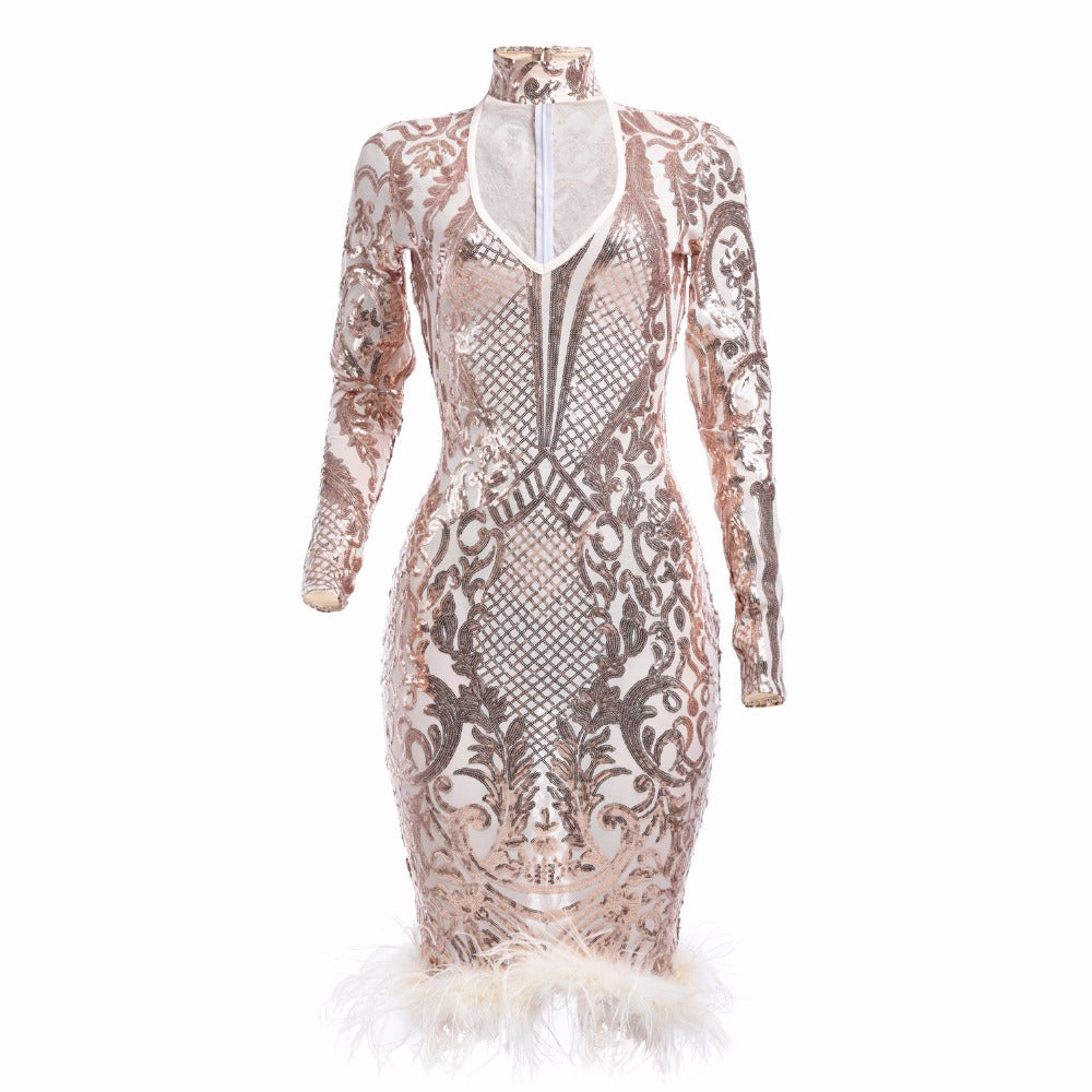 8e29470ad0e ... Women s sequin evening party dress Long sleeves red bodycon dresses-WM90P.  Hover to zoom