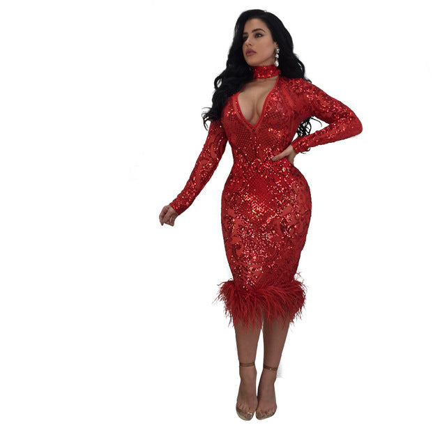 6bb256e5 ... Women's sequin evening party dress Long sleeves red bodycon dresses-WM90P.  Hover to zoom