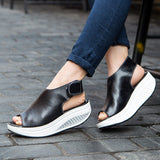 Trendy Women Casual Platform,Women Shoes Sandals   leather  Sandals Summer Flip Flops 2018 High Quality Flat Sandals Gladiator Sandalias Mujer 328W