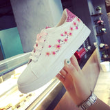 Fashion Women's Straps Sports Running Sneakers Embroidery Flower Shoes-0WMQ89