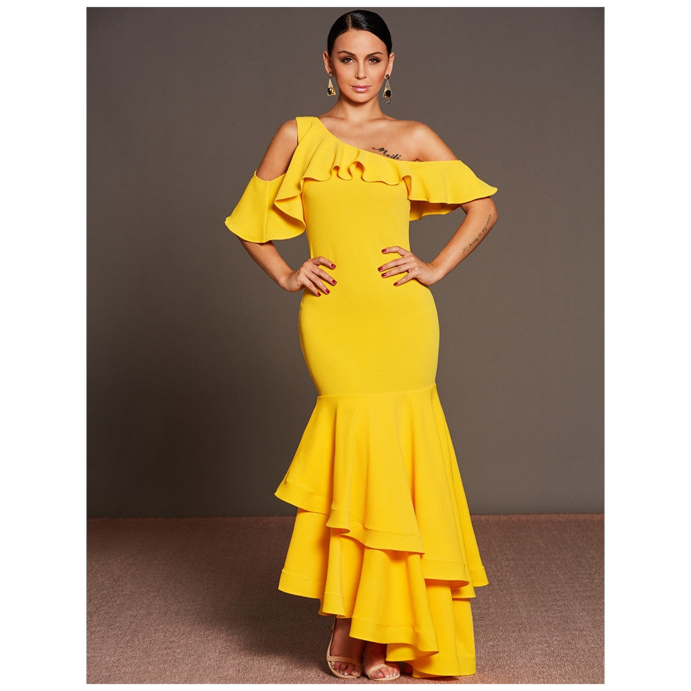 Pure Color One Shoulder Yellow Fashion Pageant Gown – Owame