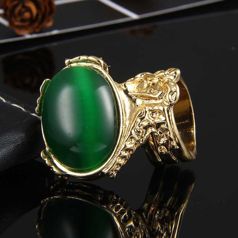 Newest Big Statement Arty Knuckle Armour Chunky Finger Opal Oval Gem Stone Golden Cocktail Ring Bague Arty Rings