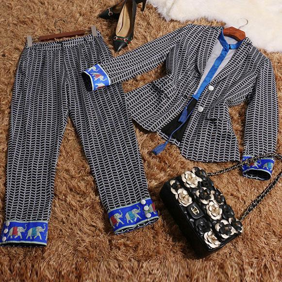 2017 autumn clothing set jacket + pants and blouses three pieces autumn high quality fashion set office wear  170821