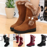 Women Boots Slip-On Soft Snow Boots Round Toe Flat Winter Fur Ankle Boots-0WMQ89