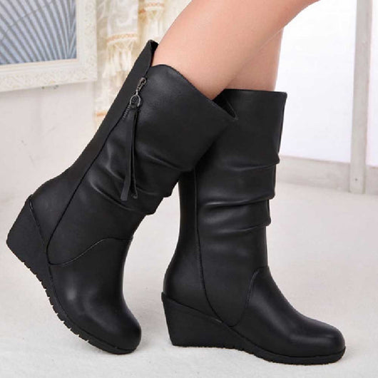 Women's Autumn Winter Warm Shoes Ladies Wedges High Heel Ankle, Zipper Boots-0WMQ89