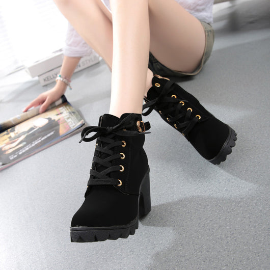 Womens Fashion High Heel Lace Up Ankle Boots Ladies Buckle Platform Shoes-0WMQ89