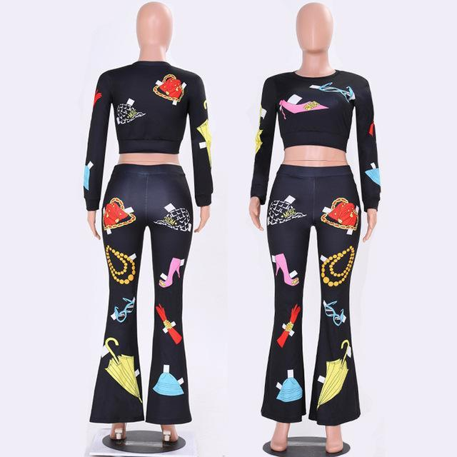 2017 Autumn Women Casual Tracksuit 2 Piece Set Fashion Printed Long Sleeve T-shirt Sexy Crop Tops + Flared Long Pants Outfit Set