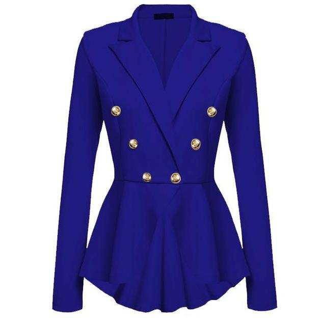 2017 Fashion Slim Fit Women Blazer Jackets Womens White Blue Ladies Blazer Office Jacket Elegant Female Solid Button Plus Size