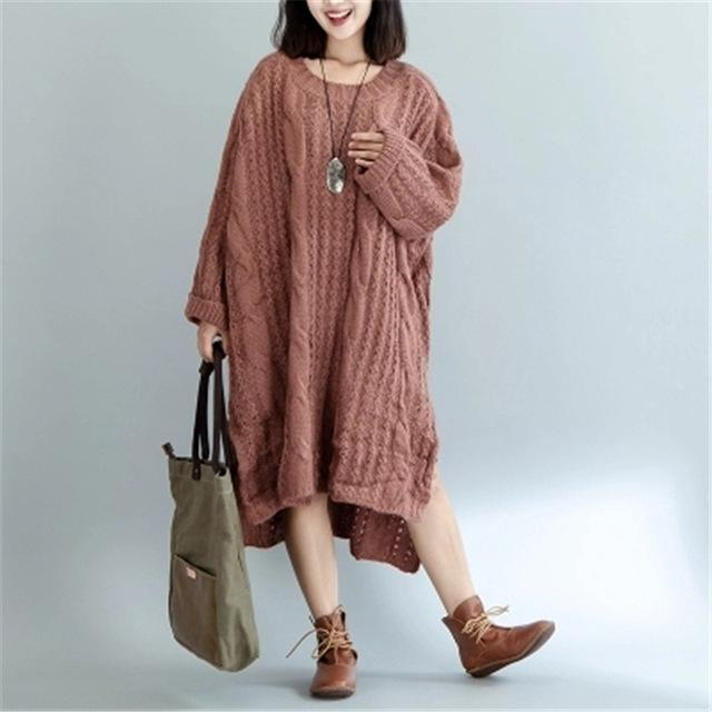 2017 Plus Size Autumn Women Sweater Knitted Cotton Dress Fashion Twist Female Solid Oversize Split Winter European Pullover L957