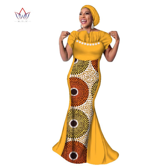 Africa Women Fashion African Dresses for Women Dashiki Plus Size African Clothes Bazin Decorative pearl Dress -0wqa78