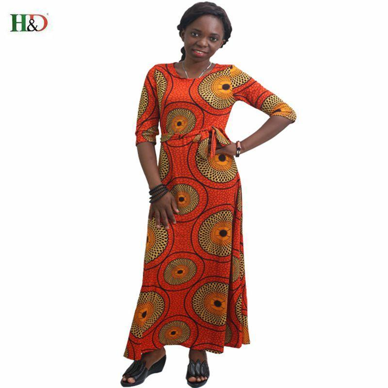 2017 African women Clothing plus size print long dresses maxi dress africa style winter dress Africaine vetsidos robe de soiree
