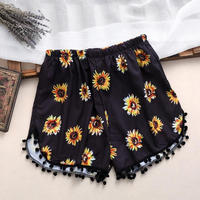 2017 New High Waist women shorts Mujer Femme Shorts Women summer Beach mini Shorts Ball Tassel Boho Printed Loose Casual