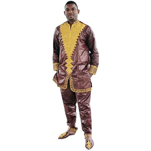 African men traditional pant and Long Sleeve bazin riche embroidery men shirt with trouser-002