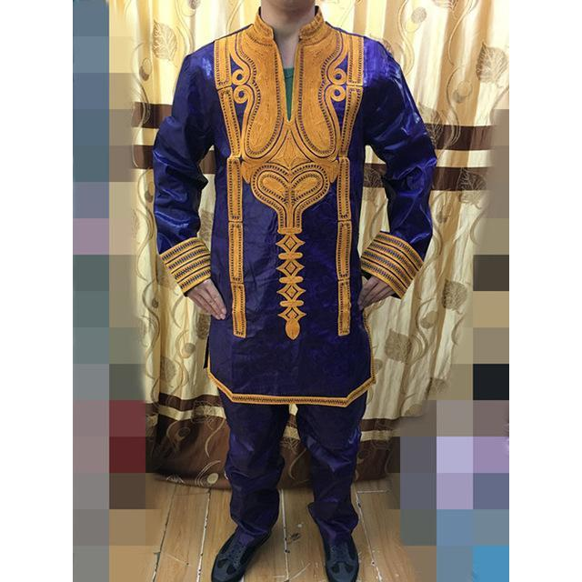 2017 New African BAZIN RICHE Direct Manufacturer,Bazin Riche Prints Dress For Man top with pants 2pcs/set have pocket 2colors