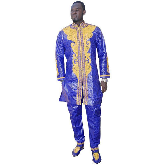 AFRICAN DRESSES FOR MEN AFRICAN BAZIN RICHE EMBROIDERY DESIGN DRESS MEN SUIT TOP WITH PANTS-002